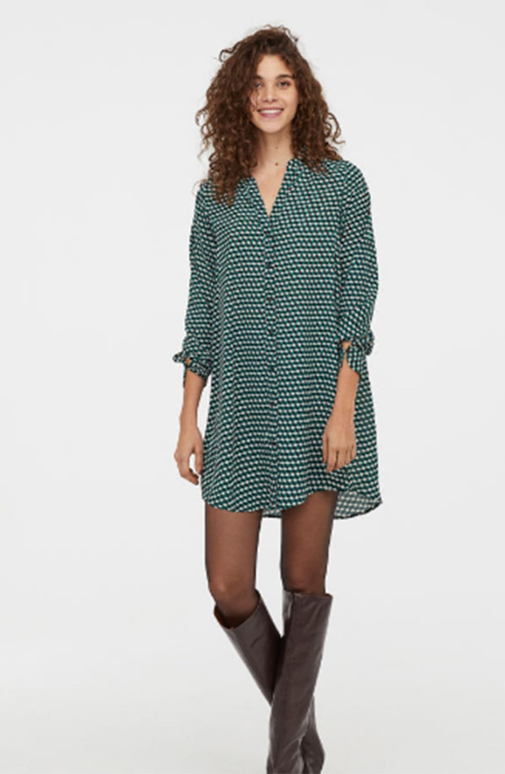 Green and black tunic with v neck