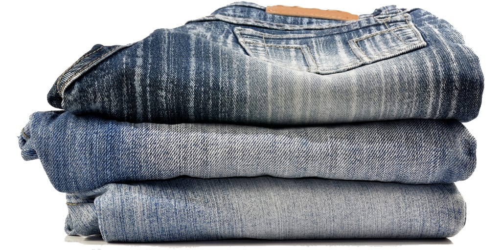 Stack of denim jeans