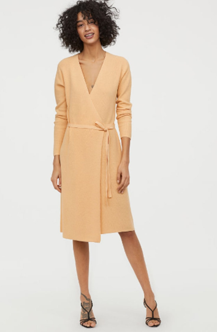 Yellow wrap dress in sustainable fabric