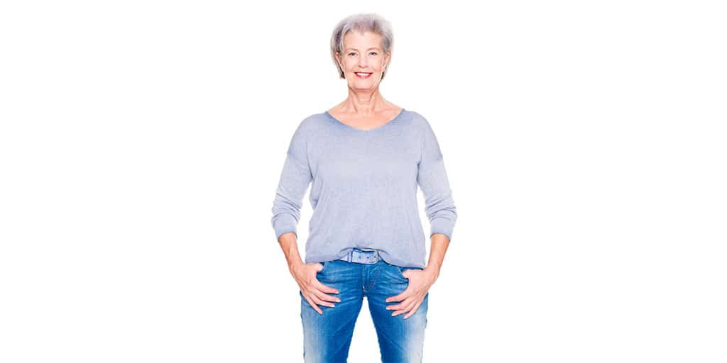 Older woman wearing jeans