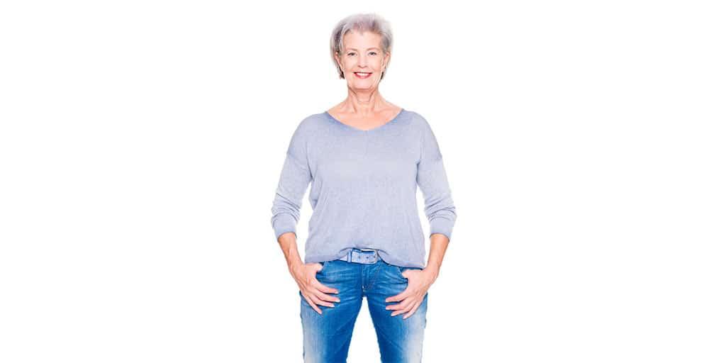 Older woman wearing jeans