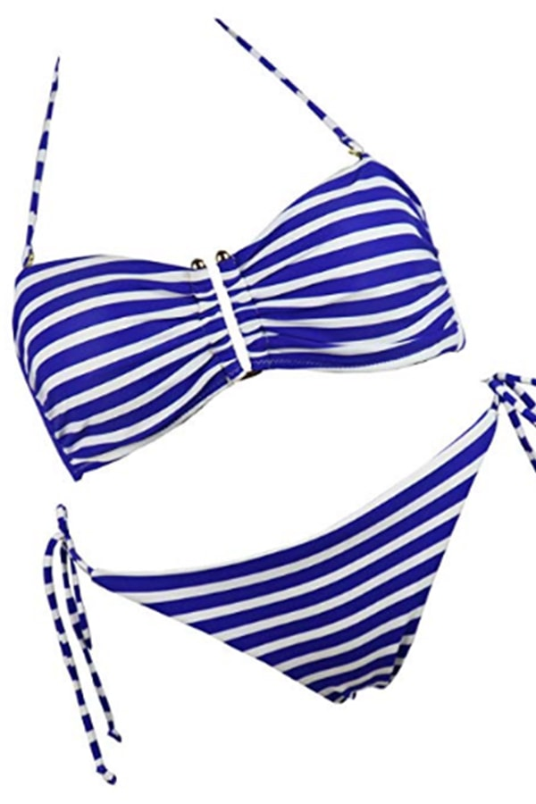 Striped style two-piece swimsuit