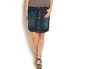 Flared denim skirt, $59.50