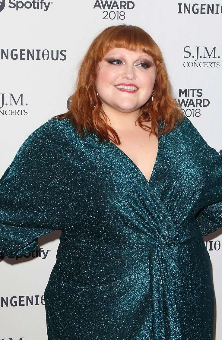 Beth Ditto wearing green wrap dress