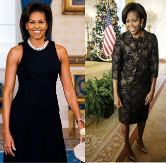 MIchelle Obama wearing conservative black dress