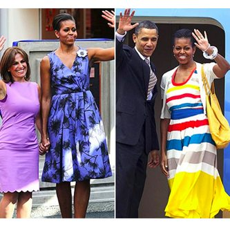 Collage of Michelle Obama wearing colorful dresses