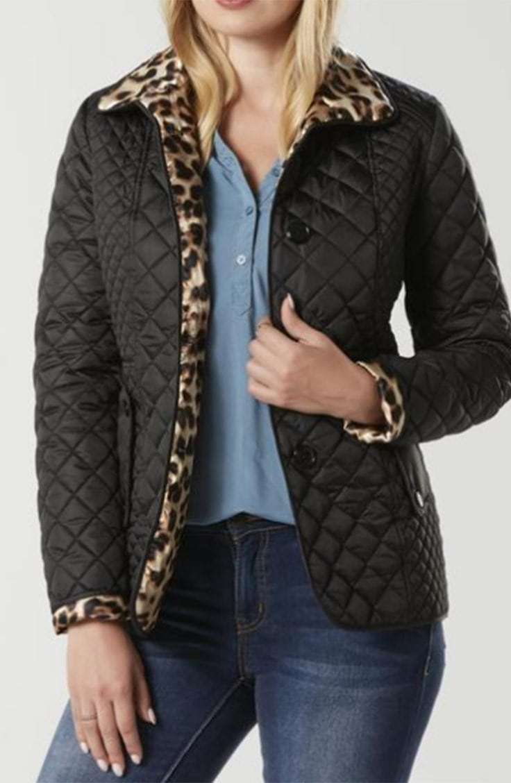 Puffer jacket with leopard trim