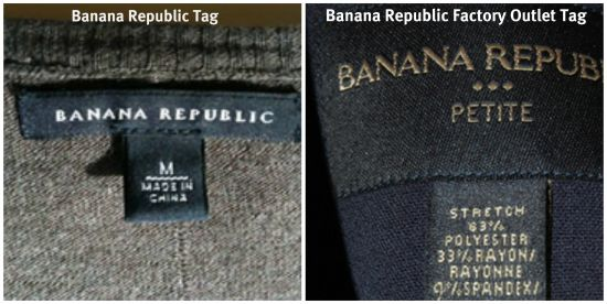 Banana Republic Factory Outlet and Main Comparison