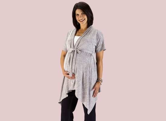 Gray Cardigan Maternity Dress