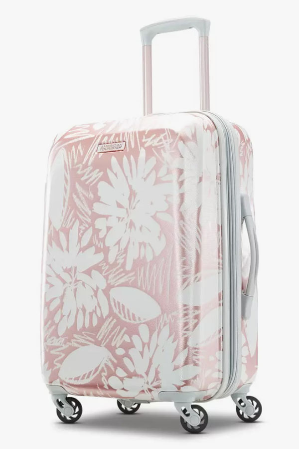 Floral hardside luggage bag