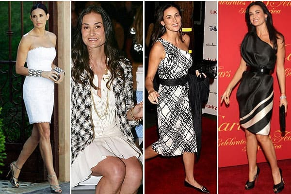 Demi Moore Black and White Outfits