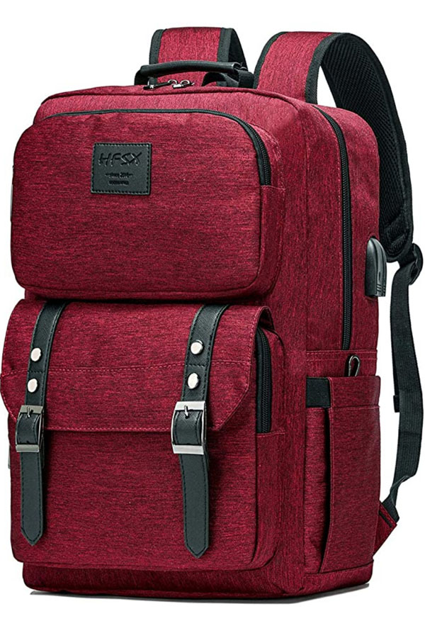 Red backpack for luggage