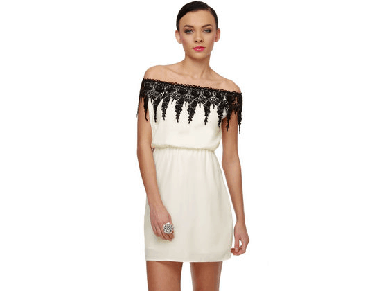 Ivory Dress Black Lace