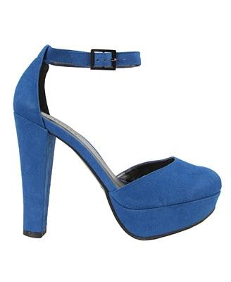 Blue suedette platform pumps