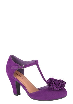 Purple t-strap shoes