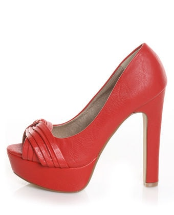 Red peep-toe pumps