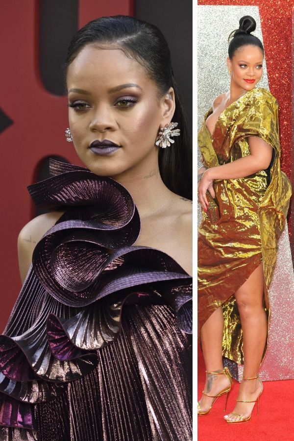 Collage of Rihanna on the red carpet