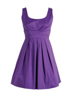 Sleeveless Pleated Purple Dress