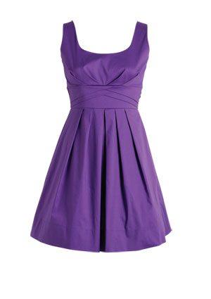 Sleeveless Pleated Purple Dress