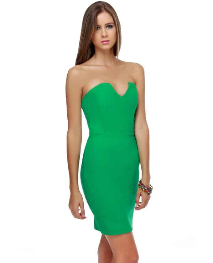Strapless Green Dress