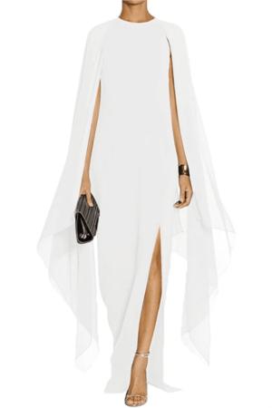 Long white dress with chiffon cape.