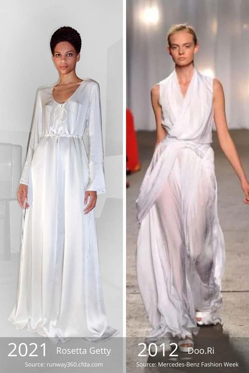 Side by side of 2021 white dress vs. 2012 white dress.