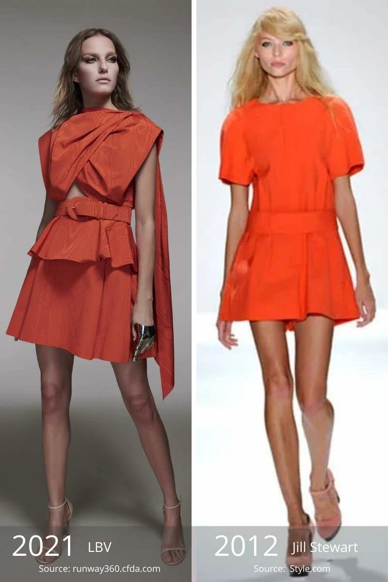 Side by side of 2021 orange dress and 2012 orange dress.