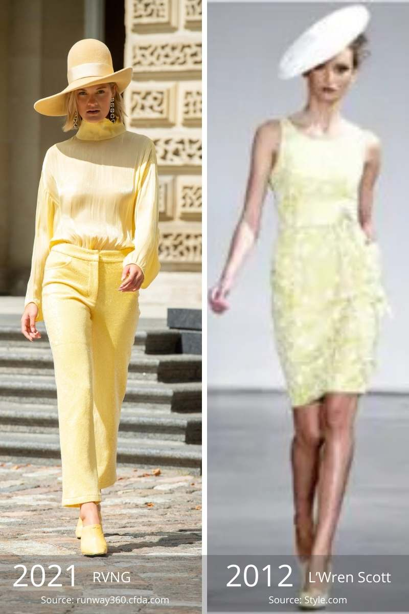 Side by side of 2021 yellow outfit and 2012 yellow outfit.