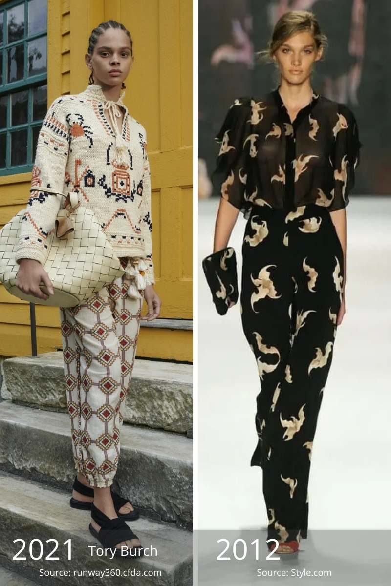 Side by side of 2021 patterned outfit and 2012 patterned outfit.