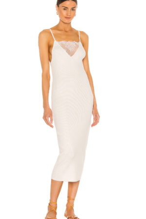 Dress with sheer panel at neckline.