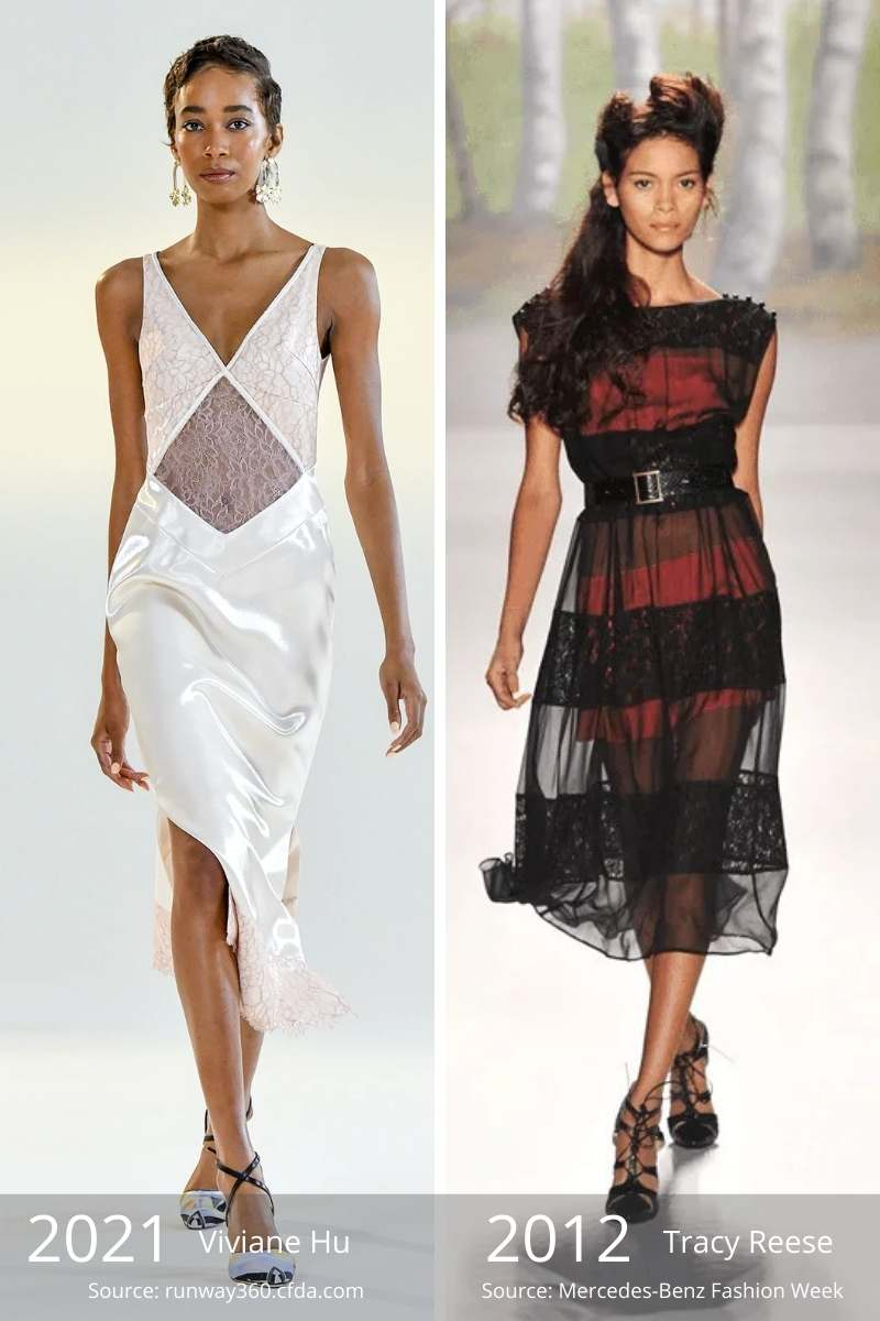 Old fashion trends vs. new ones -- side by side of 2021 sheer panel dress and 2012 sheer overlay dress.