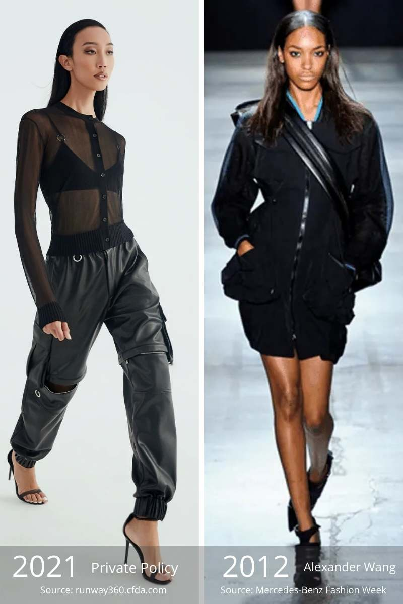 Side by side of sporty outfit from 2021 and sporty outfit from 2012.