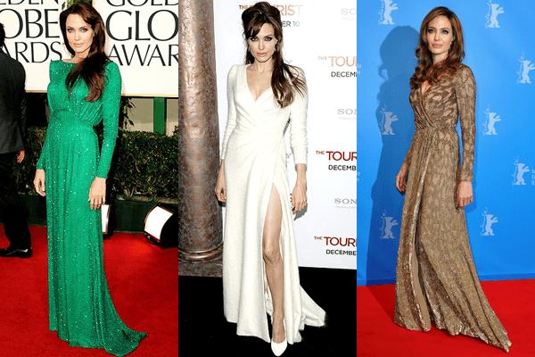 Angelina Jolie Long Sleeved Dresses