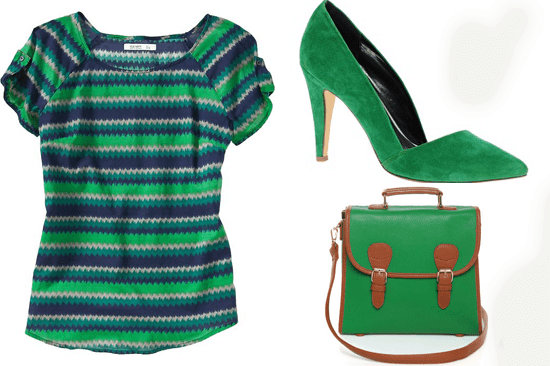 Green Blouse, Pumps and Bag