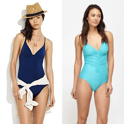 Collage of medium skinned women wearing bathing suits