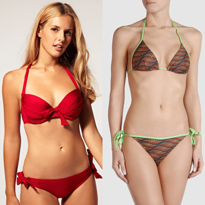 Ruby Red - Green Trimmed Bikini