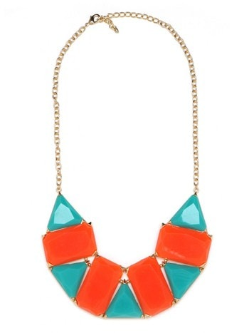 Turquoise and Tangerine Bib Necklace
