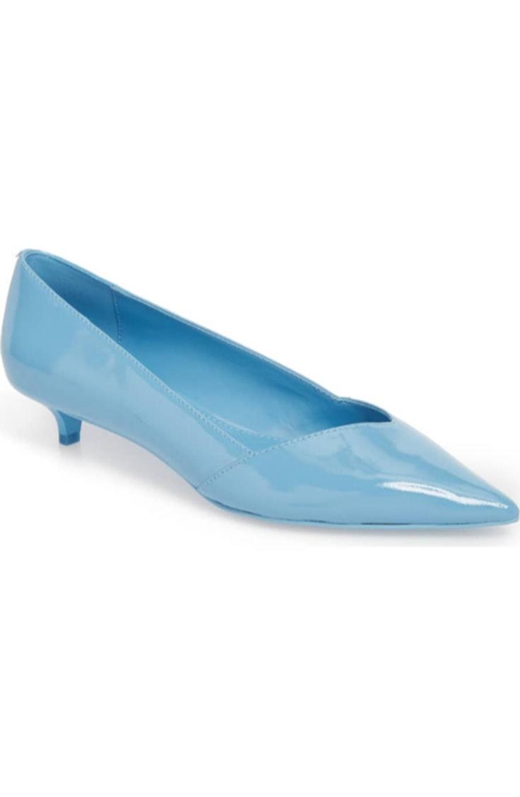 Baby blue kitten heels