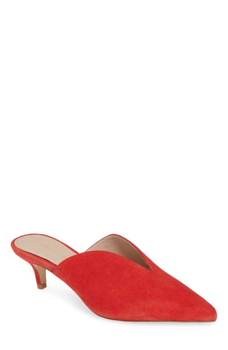 Red slide kitten heel