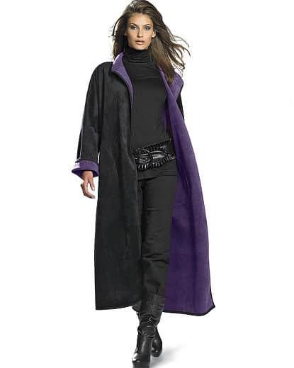 Long Reversible Fleece Robe Coat