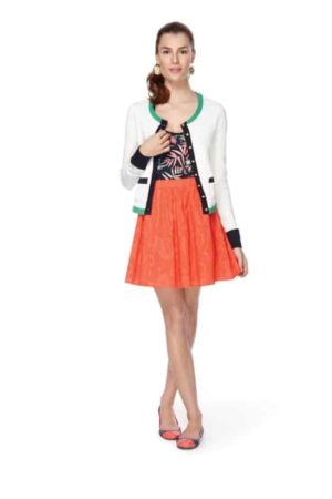 Outfit with orange mini skirt