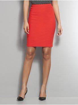 Stretchy Linen Seamed Pencil Skirt