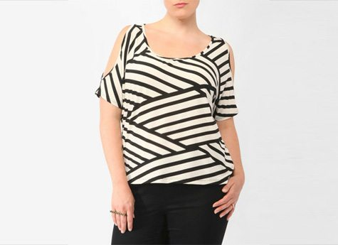 Bias Stripe Cutout Top