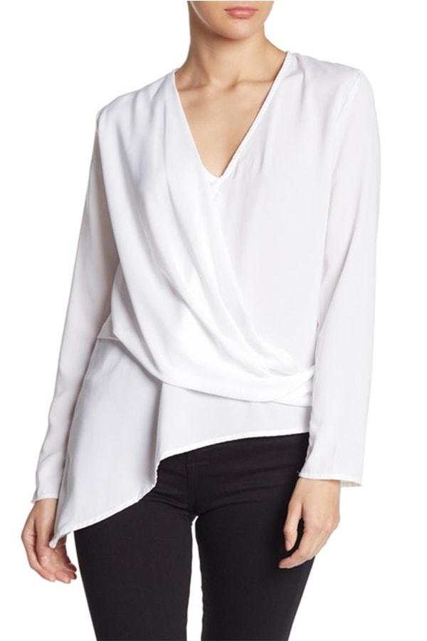 White top with asymmetric hemline