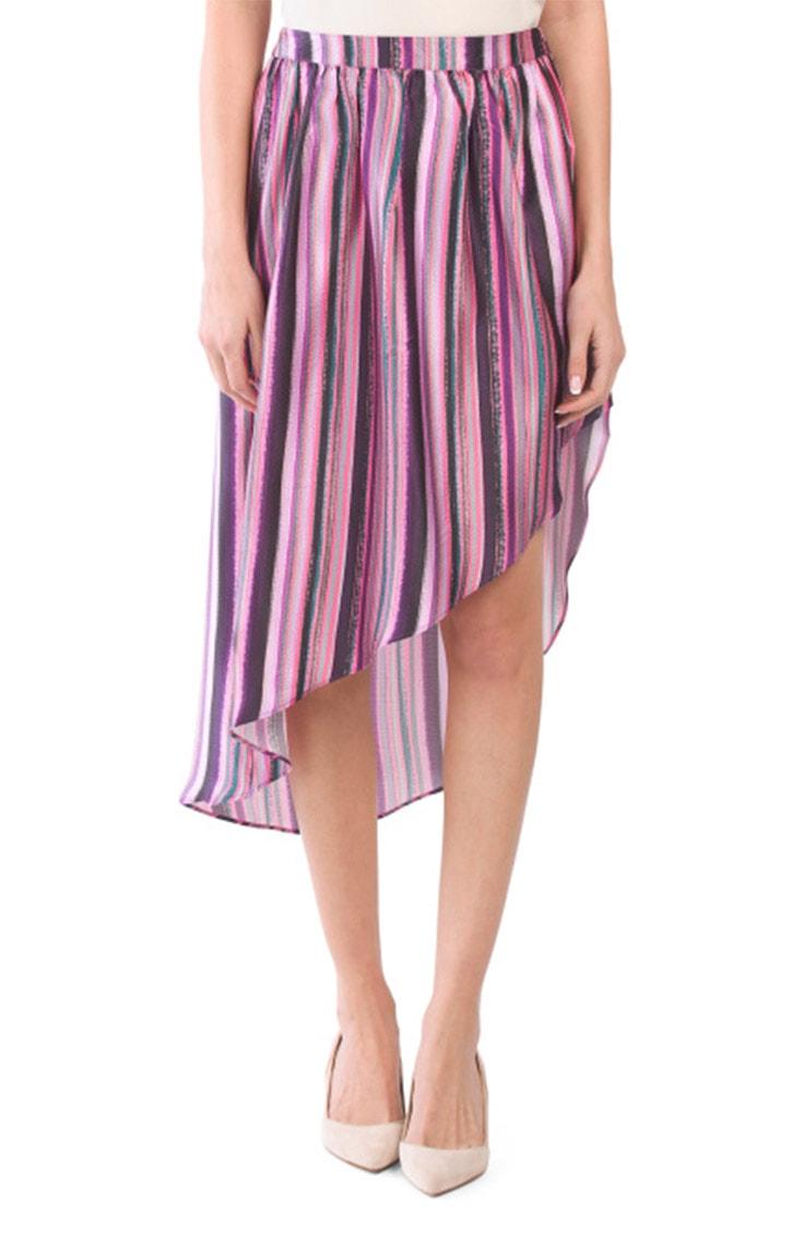 Pink striped asymmetric skirt