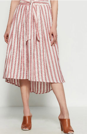 Striped skirt with bow at waist