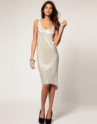 ASOS Midi Dress With Textured Metallic