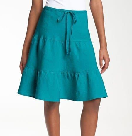 Allen Allen Tiered Linen Skirt