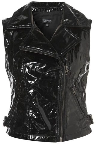 Patent Sleeveless Biker Jacket