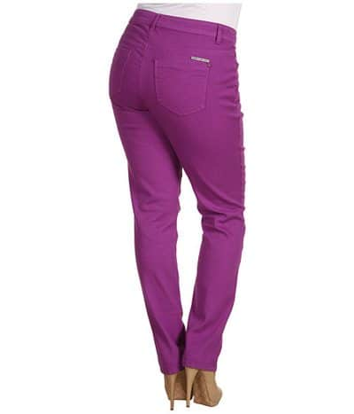 plus size woman wearing purple jeans